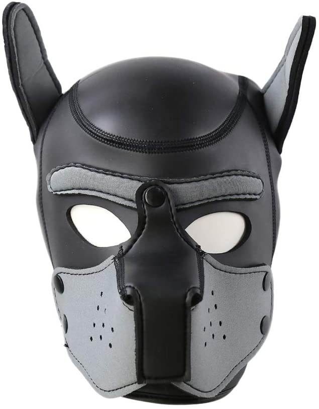 Ejoycos Neoprene Full Face Puppy Hood Cosplay Roleplay Halloween Party Props Costume Dog Head Mask Halloween Costume