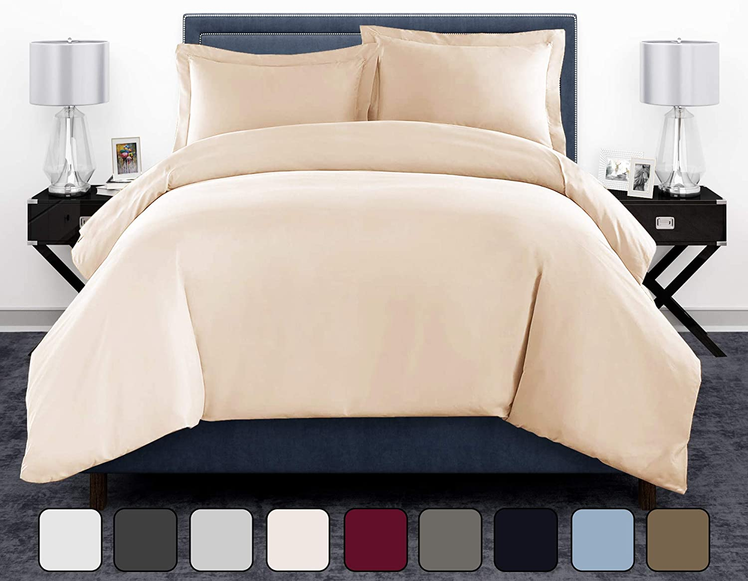 Kair 600 Thread Count Ultra Soft 100% Pure Egyptian Cotton Ivory King/California King Size Duvet Cover Set - 3 Piece Luxury Sateen Weave Quilt Cover with Hidden Zipper Closure & Corner Ties