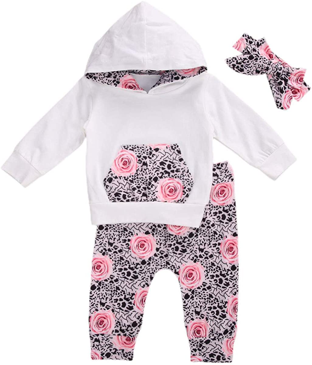 Toddler Baby Girls Outfits Long Sleeved Hoodie Sweatshirt Tops Leopard Pants Fall Winter 2PCS Clothes Sets