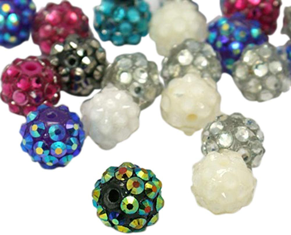 PH PandaHall About 100 Pcs 10mm Chunky Bubblegum Beads Resin Rhinestone Shamballa Bead Round Spacer Bead for Jewelry Making, Assorted Color