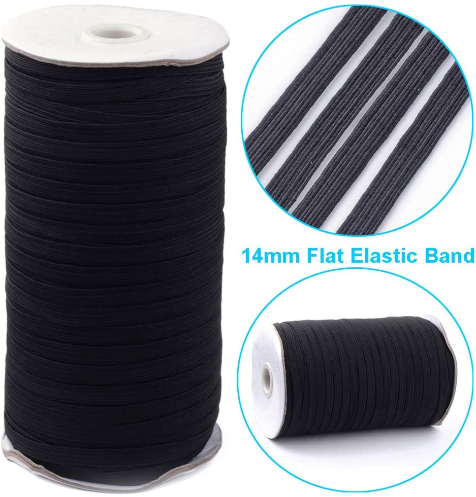 UR URLIFEHALL 90 Yards Black Flat Elastic Band 0.55Inch Wide Braided Stretch Strap Cord Roll for Sewing Crafting and Mask Making