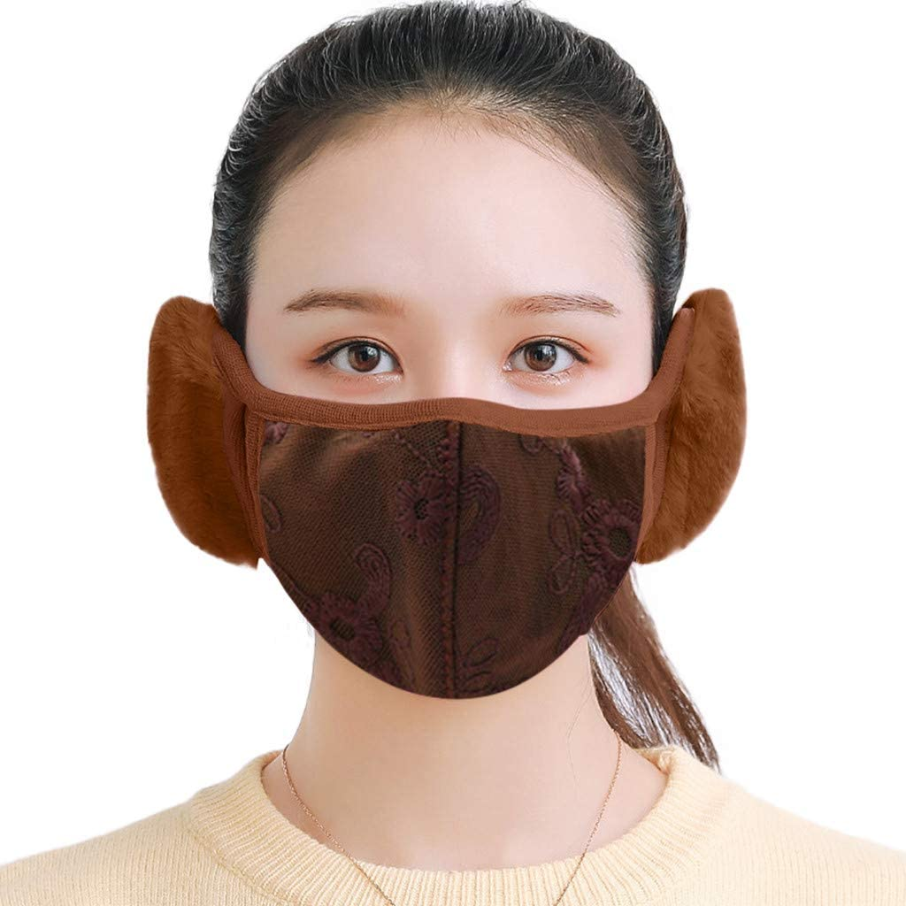Adult Fleece Face_Mask for Winter,Soft Comfortable Plush Face Coverings with Earmuffs for Cold Weather