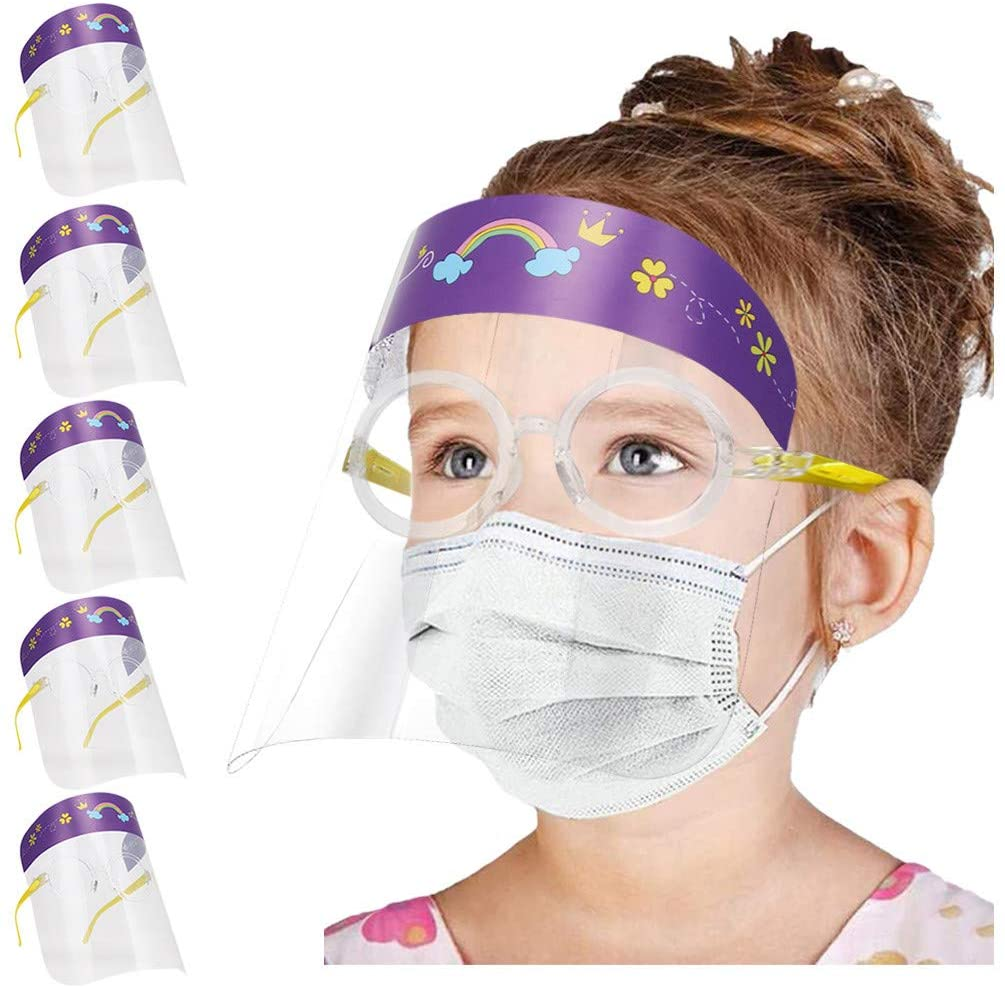 Face Shield for Kids,St.Dona 5pcs Kids Cartoon Anti-Fog Face Guard Safety Protection Glasses Face Covering (Purple)