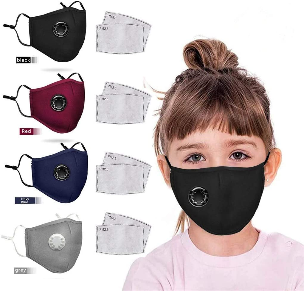 4pcs Fashion Child Reusable Face Bandanas with Breathing Hole, Comfortable 8pcs Activated Carbon Replaceable Filters Face cotton fabric For Kids.