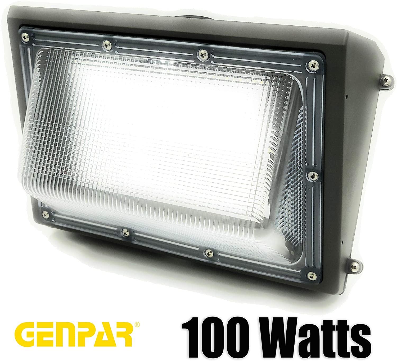 GENPAR 100W Wall Pack LED Light 600 Watt Equivalent HPS/MH 11000 Lumens 6000K Daylight 5 Years WARRAN Outdoor Waterproof Commercial Industrial Security Lighting Replacement Lights Wallpack