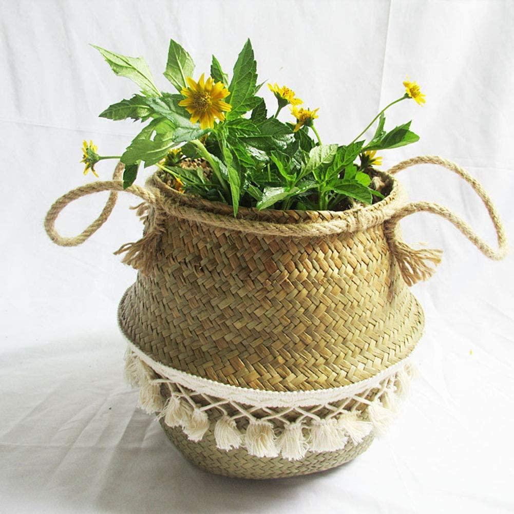Ochine Fringed Hand-Woven Seagrass Storage Basket with Handles, Foldable Storage Basket, Plant Pot Basket, Laundry, Picnic, Decorative Basket