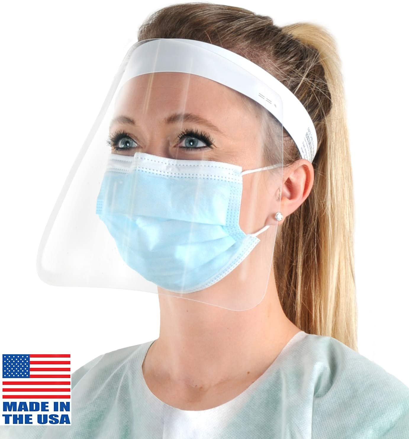 Beistle Shield – 12PCs – Made in the USA with Transparent Lightweight Plastic Safety Visor and Comfortable Adjustable Headband for Eye and Face Protection, 8.25