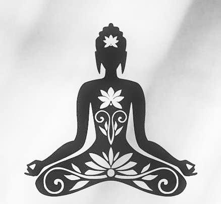 CCI Yoga Lotus Position Decal Vinyl Sticker|Cars Trucks Vans Walls Laptop| Black |5.5 x 5.5 in|CCI959