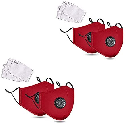 Family combo Outdoor artifact 4 Face Shields /8 Pcs of PM 2.5 Activated Carbon Filter Insert,Washable,Reusable & Adjustable,Breathable Cotton(red)