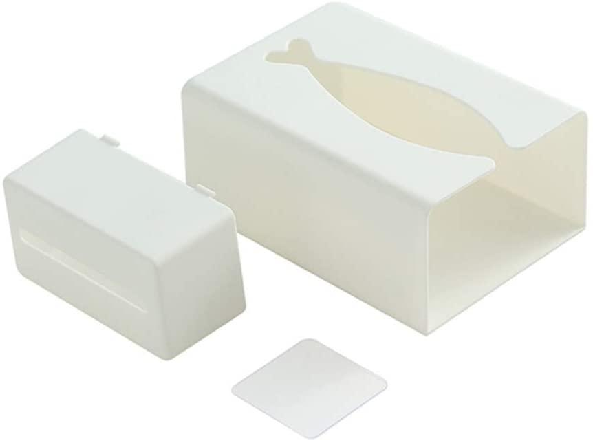 Cabilock Wall Mount Tissue Box Grocery Bag Dispenser Garbage Bag Organizer Tissue Dispenser Box Cover for Home Kitchen (White)