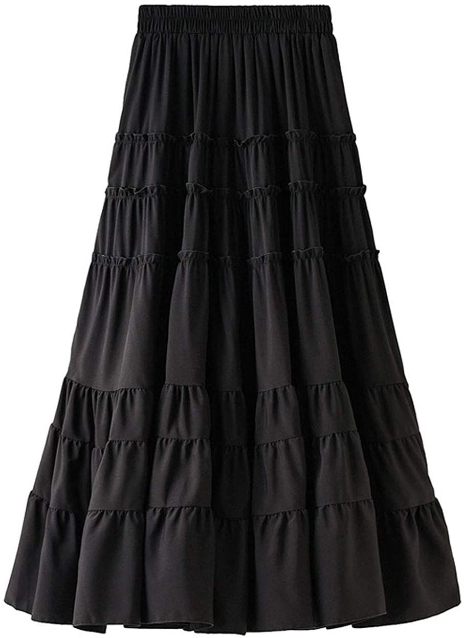 ebossy Women's Shirring Chiffon Layered Frill Elastic Waist A-Line Midi Tiered Skirt