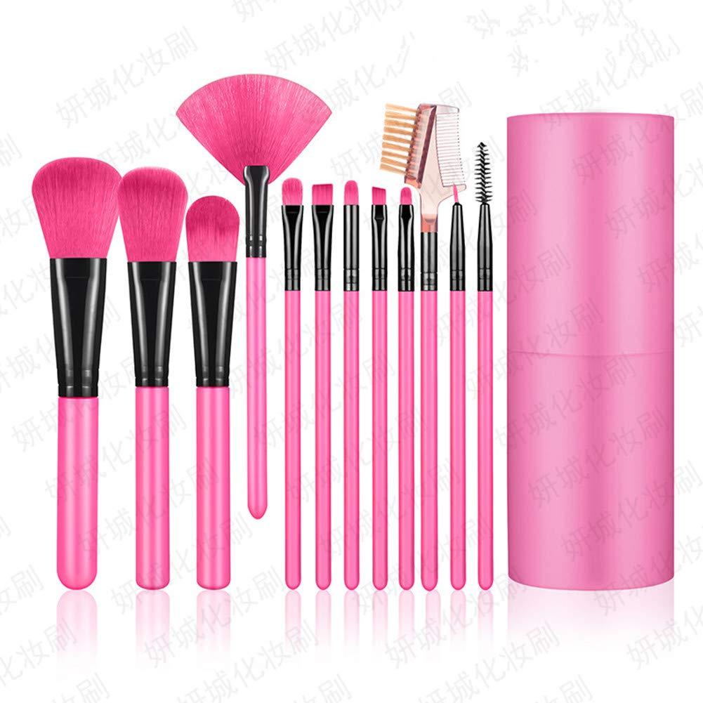 Shiratori Makeup Brush Set with Holder 12Pcs Makeup Brushes Premium Synthetic Foundation Brush Blending Face Powder Blush Concealers Eyeshadow Make Up Brushes Kit - Rose red