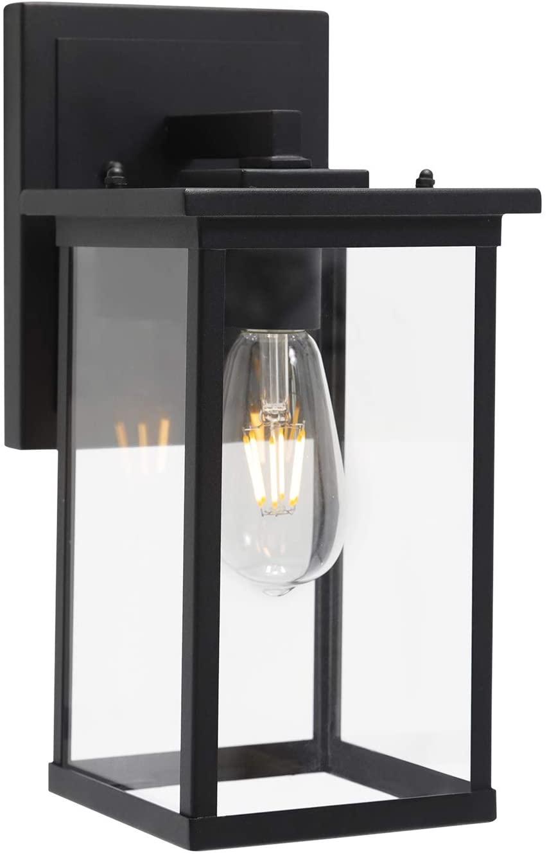 TODOLUZ 1-Light Outdoor Lantern Wall Lighting, Matte Black Porch Wall Light Fixture for Garage Patio