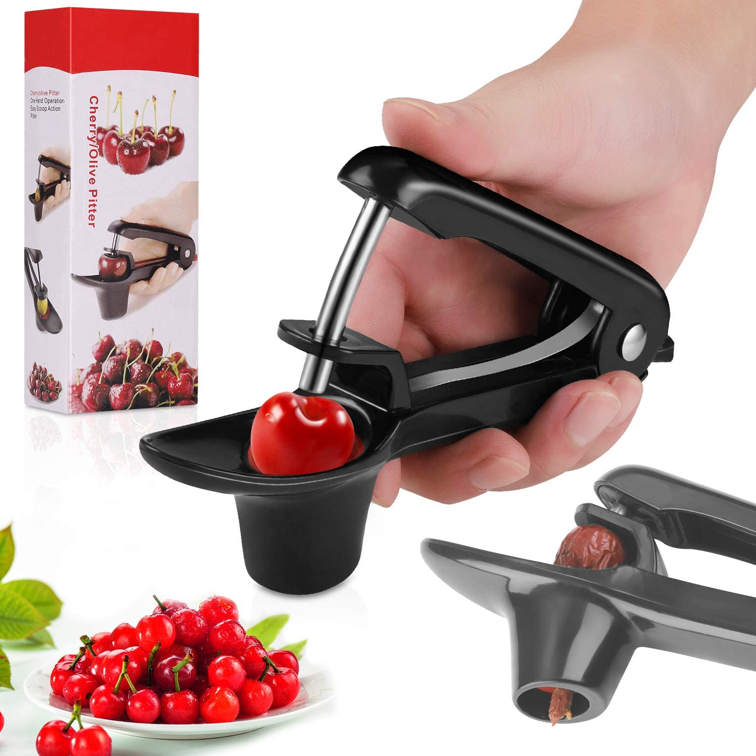 Cherry Pitter, Portable Olive and Cherry Pitter Tool, Multi-Function Fruit Corer and Pitter Remover, Suitable for Home Kitchen, Cherry, Jujube and Red Date, Hawthorn
