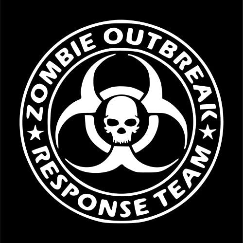 Zombie Outbreak Response Team Skull Vinyl Decal Sticker | Cars Trucks Vans SUVs Windows Walls Cups Laptops | White | 5.5 Inch | KCD2412