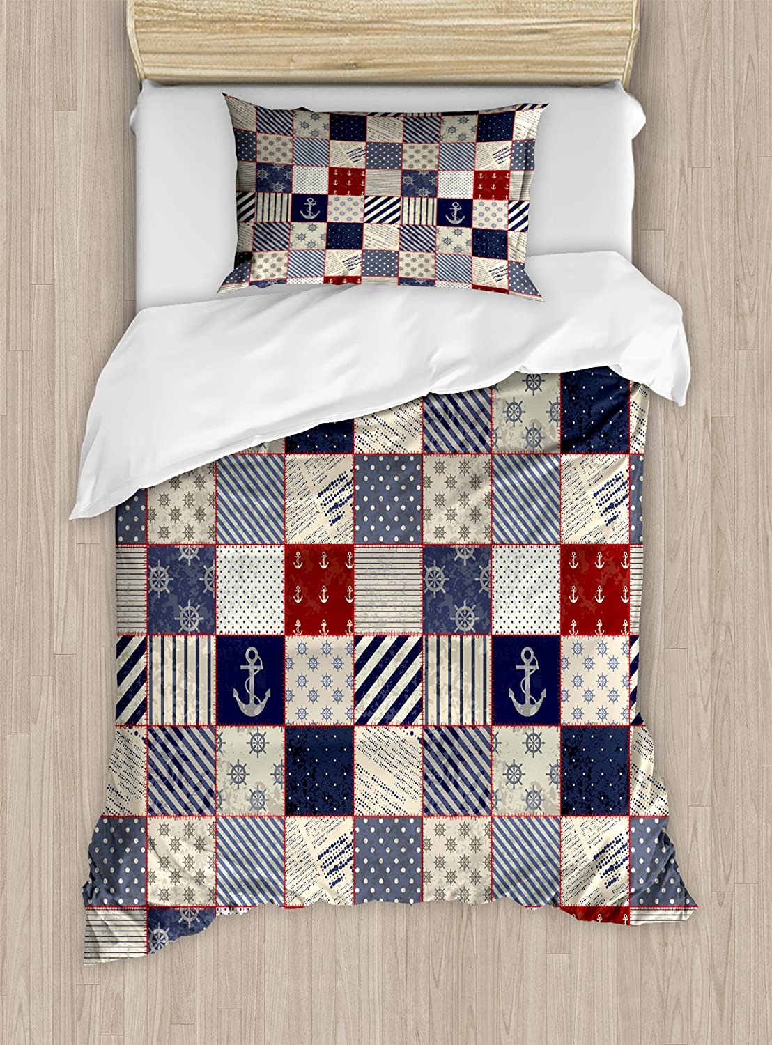 Lunarable Geometric Duvet Cover Set, Checkered Pattern with Pale Nautical Design Elements Grunge Effect, Decorative 2 Piece Bedding Set with 1 Pillow Sham, Twin Size, Navy Blue