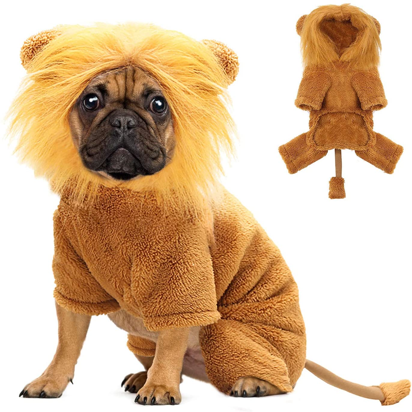 BWOGUE Dog Lion Costume for Dogs Clothes Pet Halloween Cosplay Dress Party Dressing up Dogs Cats Animal Fleece Hoodie Warm Outfits Clothes