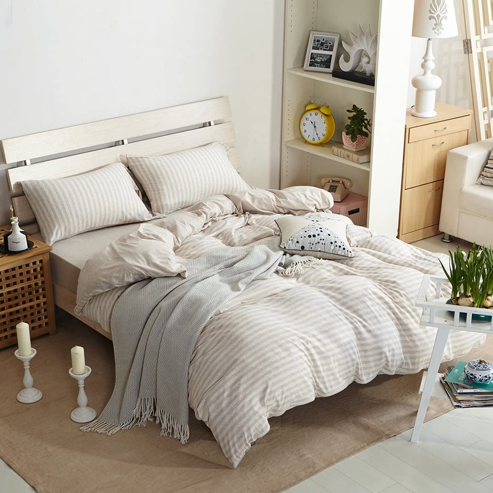 【LATEST ARRIVAL】Duvet Cover Set Comforter Cover Queen Stripe Duvet Cover Full Knitted Cotton Cream Beige Natural Geometric 3 Pieces Bed Sets Full Pinstripe with 2 Pillow Shams,NO Comforter NO Sheet