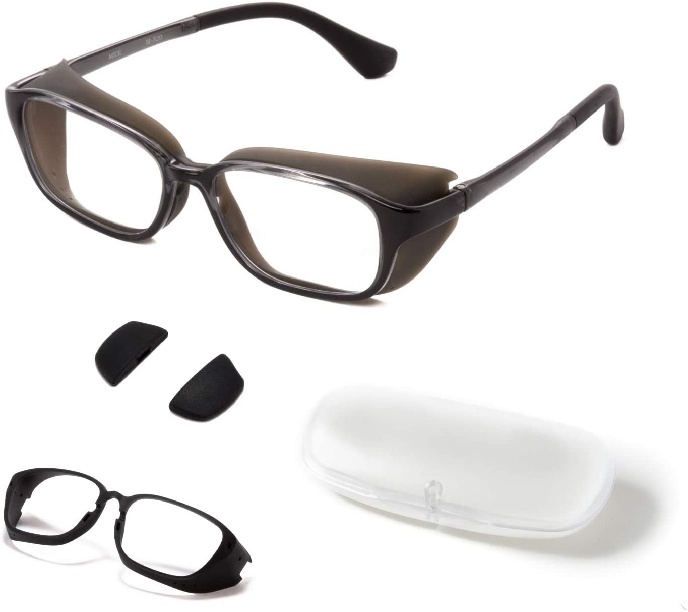 MIDI Anti Pollen Glasses for Hay Fever Protection with Removable Shields | Modern Blue Light Blocking Computer Glasses | UV and Blue Light Blocking Lenses (m320c2-smoke-us)