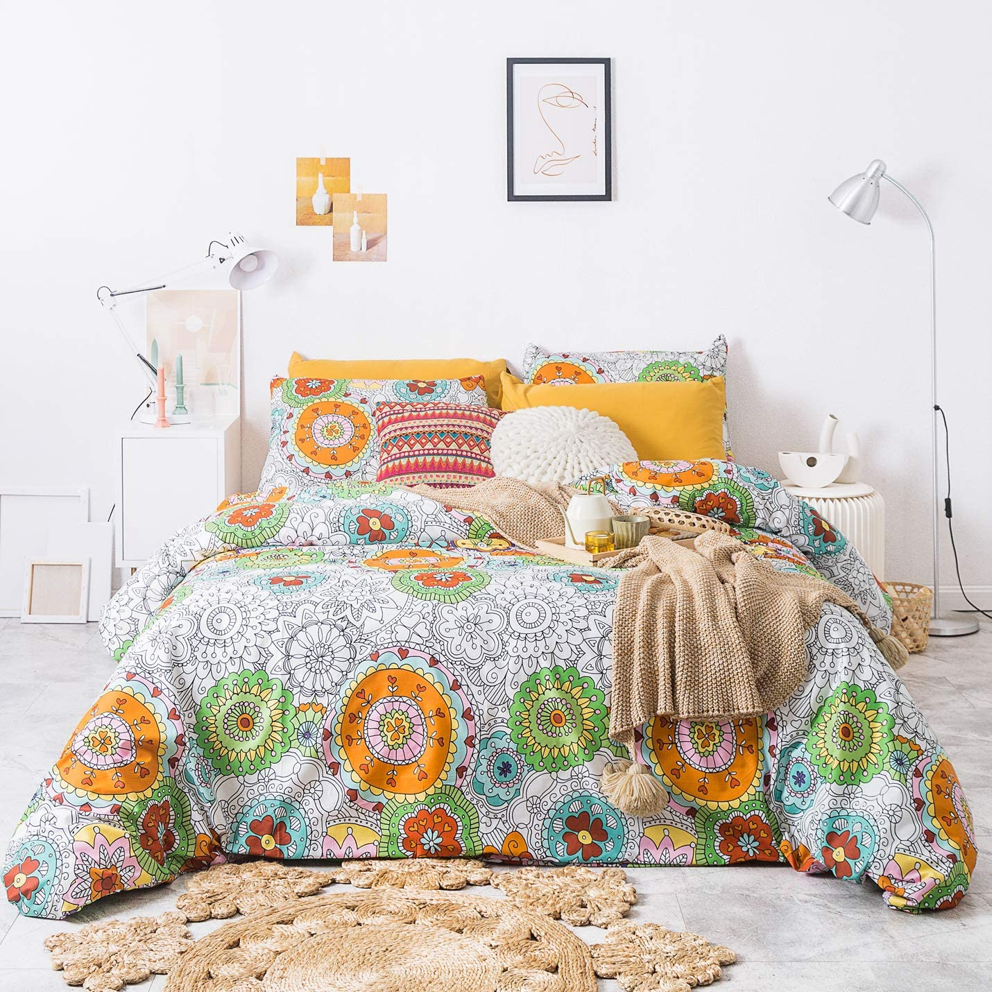 YuHeGuoJi 3 Pieces Duvet Cover Set 100% Cotton King Size Boho Floral Bedding Set 1 Multicolor Geometric Print Duvet Cover with Zipper Ties 2 Pillowcases Hotel Quality Soft Breathable Lightweight