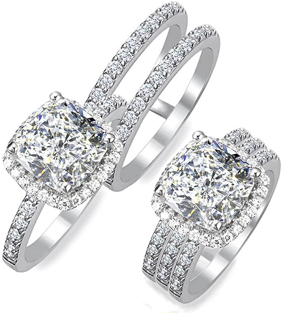 Diamonbella 101 Facets 2 Carat Princess Cushion Cut NSCD Simulated Diamond Ring Double Band Set 925 Silver Platinum Plated Halo