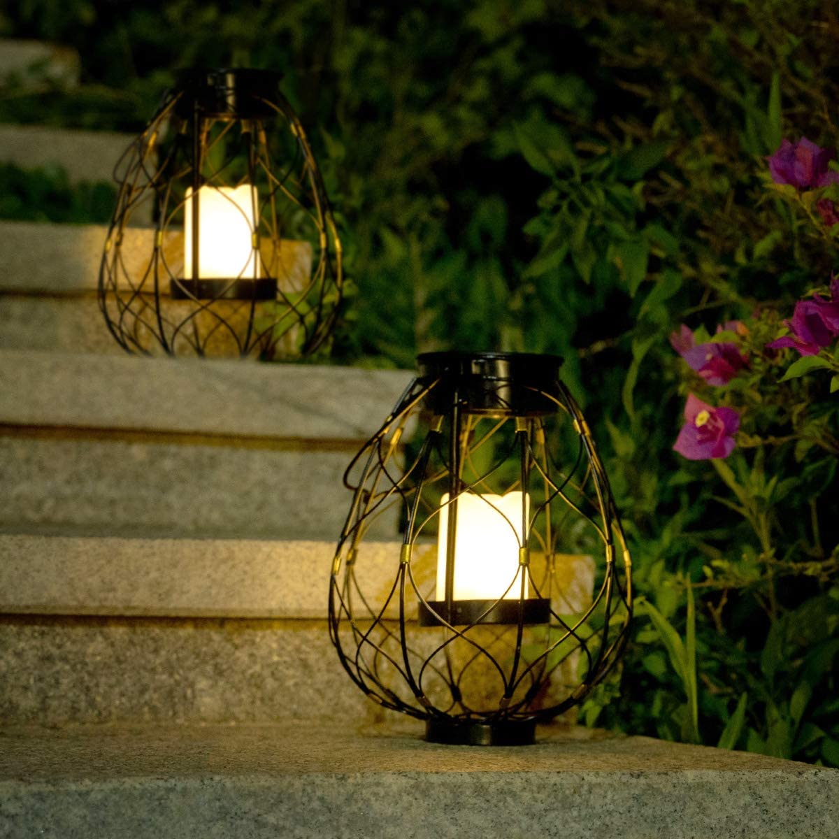 Solar Metal Lantern with Sherphad Hooks Outdoor Garden Hanging LED Lights Decoration for Garden Patio, Porch Yard