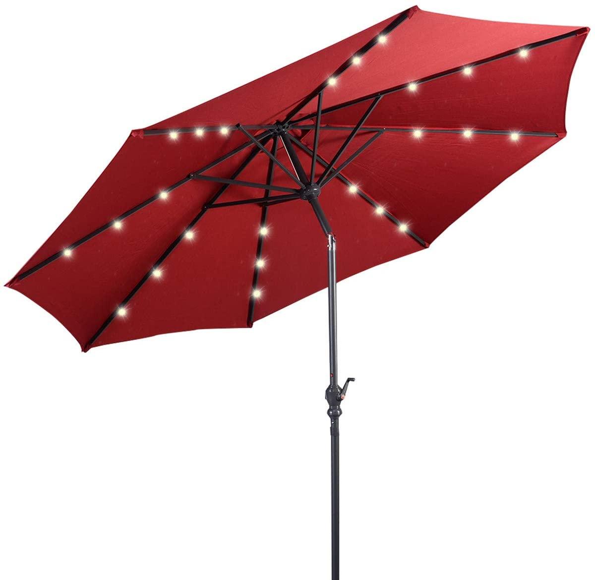 Giantex 10ft Solar Patio Umbrella Outdoor with Lights, 8 Ribs Steel Market Umbrella, Easy Push Button Tilt and Crank, Solar Table Umbrellas for Garden, Deck, Backyard, Pool Indoor Outdoor Use