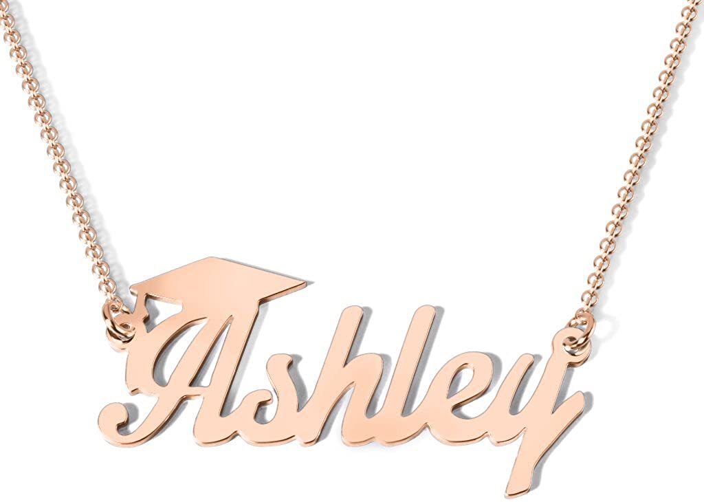 14K Gold Personalized Graduation Name Necklace by JEWLR
