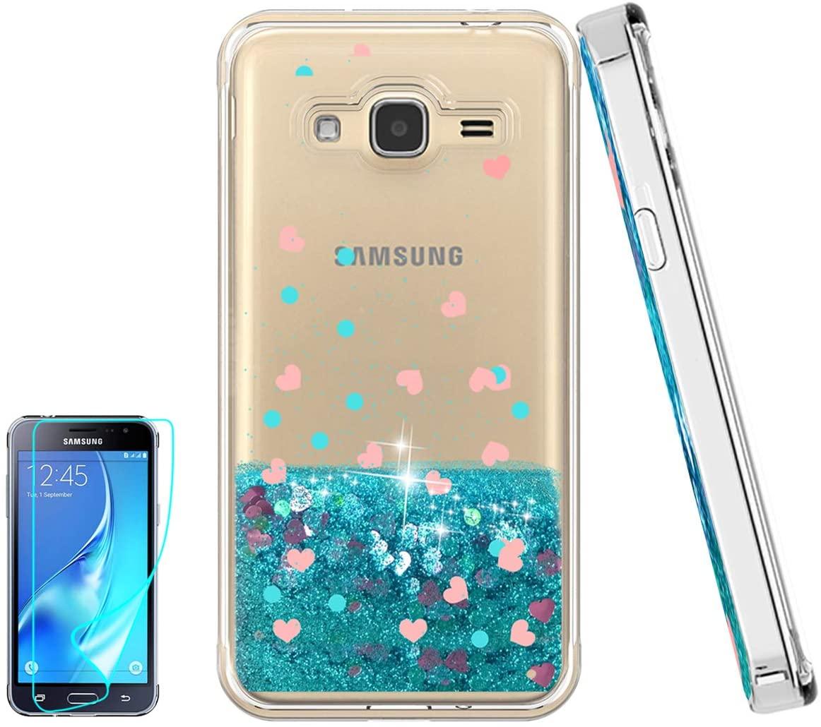 Atump Galaxy Express Prime Case, Galaxy J3 2016 Case, Galaxy J3 V/Sky/Amp Prime/Sol Case and HD Screen Protector, Liquid Glitter Thin Girly Soft TPU Cover for Samsung J3 2016 Blue