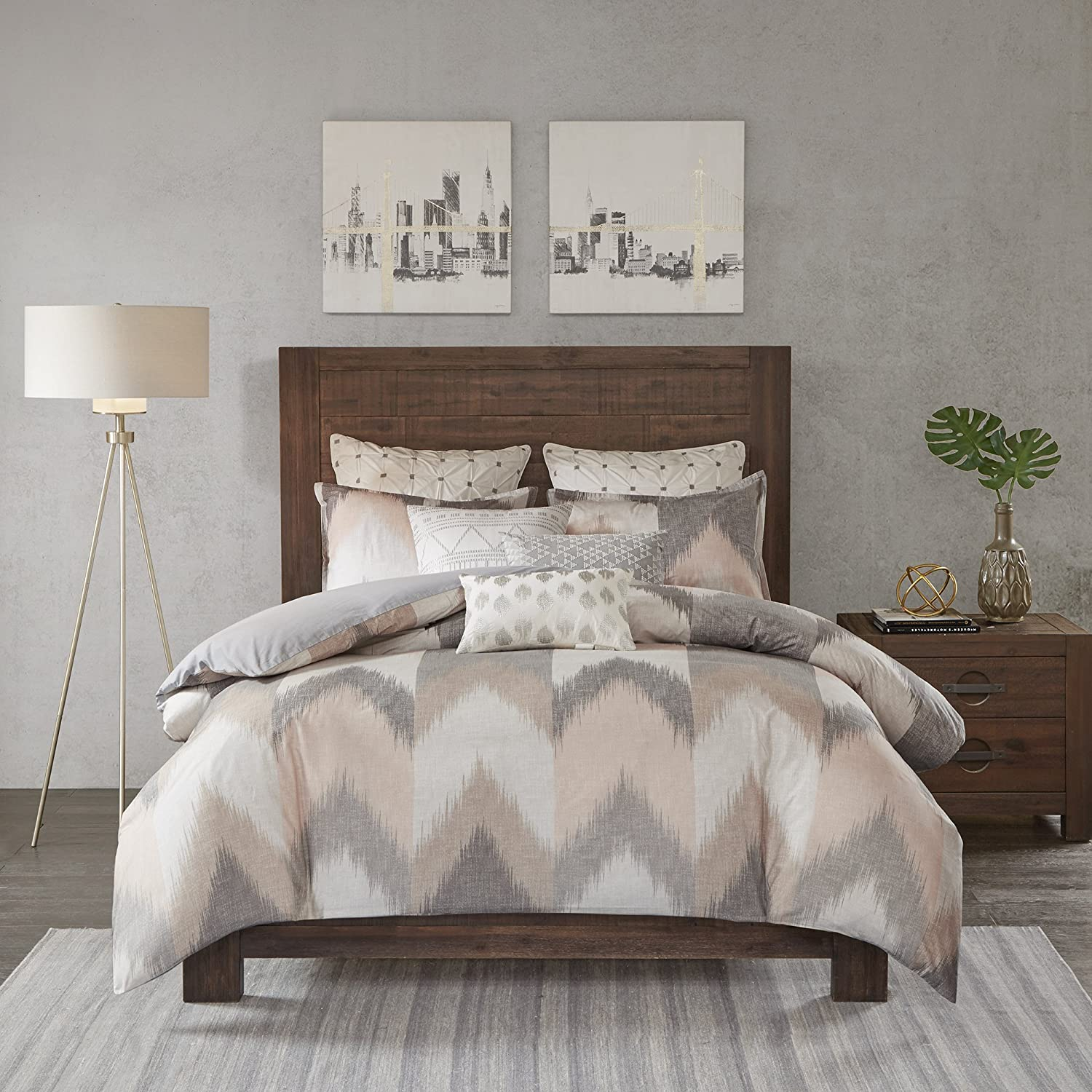 Ink+Ivy Alpine Duvet Cover Full/Queen Size - Blush, Grey, Ivory , Pieced Chevron Duvet Cover Set – 3 Piece – 100% Cotton Light Weight Bed Comforter Covers