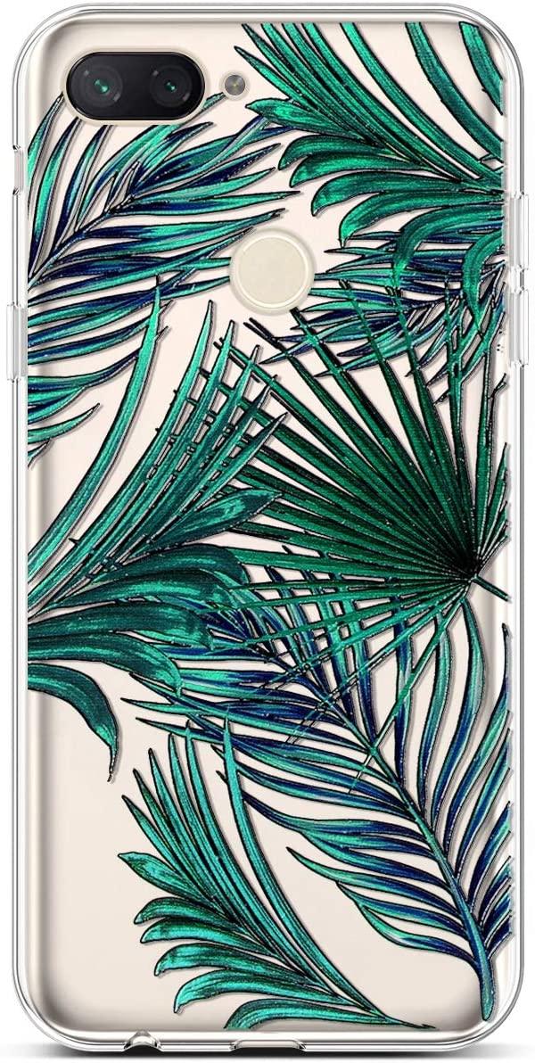 PHEZEN Xiaomi Mi 8 Lite Case Clear Cute Art Design Girl Women Soft Flexible TPU Silicone Case Rubber Shockproof Transparent Slim TPU Bumper Cover Phone Case for Xiaomi Mi 8 Lite,Green Palm Leaves