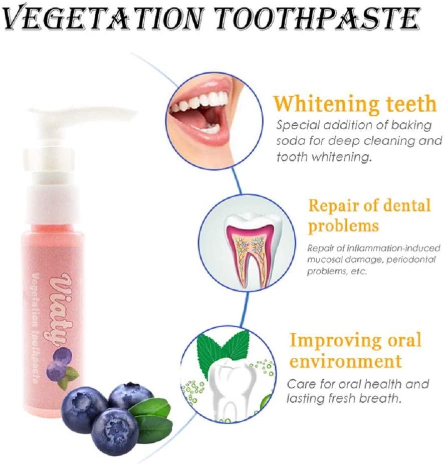Liveday Portable Stain Remover Whitening Toothpaste Fresh Fruit Aroma Anti Bleeding Gums Press Type Fresh Toothpaste