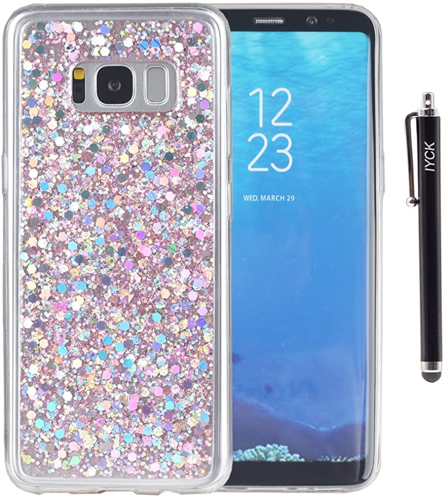 S8 Case, Galaxy S8 Case, iYCK Luxury Bling Glitter Sparkle Shiny Transparent Flexible Soft Rubber TPU Protective Shell Hybrid Bumper Case Cover for Samsung Galaxy S8