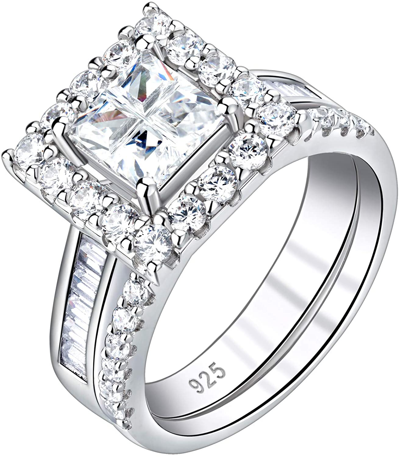 Newshe Size 5 9 10 Engagement Rings for Women Wedding Ring Sets 925 Sterling Silver Cz 2.1Ct Princess