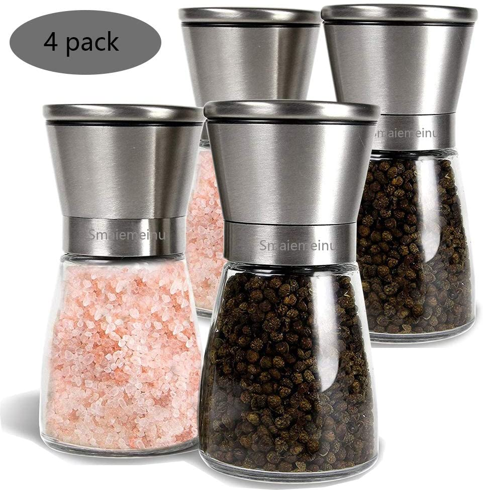 Salt and Pepper Grinder Set, Smaiemeinu Stainless Steel Salt and Pepper Grinders refillable Set - Short Glass Shakers with Adjustable Coarseness for sea salt, black peppercorn, or spices (Set of 4)