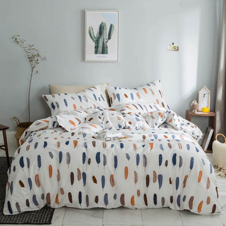 VM VOUGEMARKET Colorful Feather Duvet Cover Set Queen,3 Pieces Lightweight Cotton Reversible Bright Bedding Set with Zipper Closure-Full/Queen,Feather