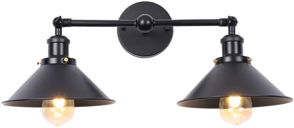 Farmhouse Bathroom Vanity Light Fixtures Wall Sconce Lighting, Industrial 2 Light Wall Mounted Indoor Wall Light Fixtures with Black Metal Shade
