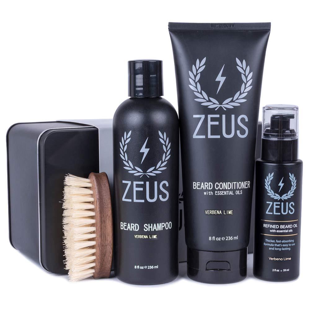ZEUS 100% Vegan Beard Grooming Set - Vegan Formula Oil, Shampoo, and Conditioner with Natural Plant Fiber Bristle Brush (Verbena Lime)