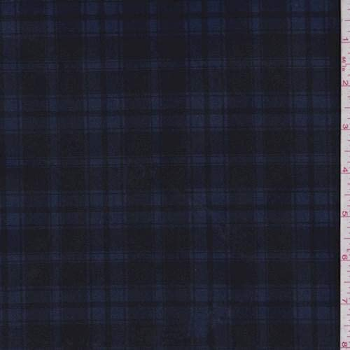 Navy/Black Plaid Scuba Double Knit, Fabric by The Yard