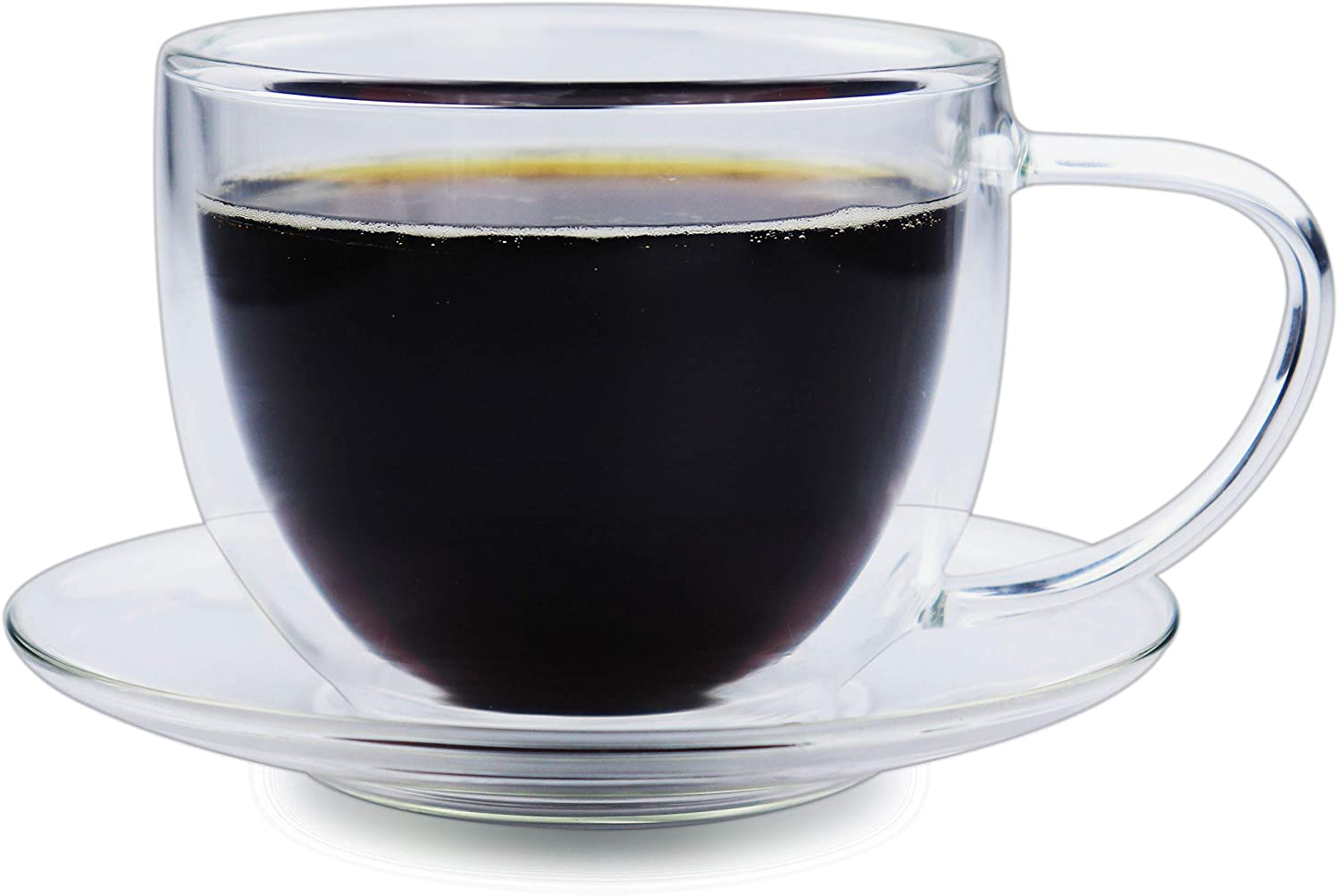 Espresso Coffee Cup with Saucer - 7 Ounce (220ml) Clear Double Wall Glass with Large Handle - Great for Drink, Latte, Cappuccino and Tea, BE020, by BothEarn