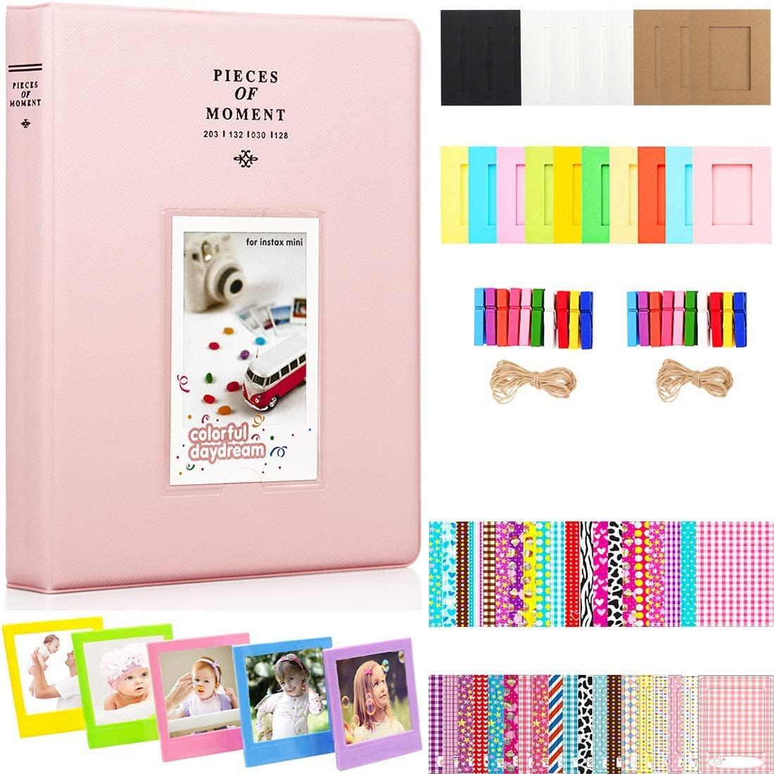 BigTrend 2x3 Inch Photo Paper Film Album Set for Fujifilm Instax Mini Camera, Polaroid Snap, Z2300, SocialMatic Instant Cameras & Zip Instant Printer (Pink, 128 Pockets)