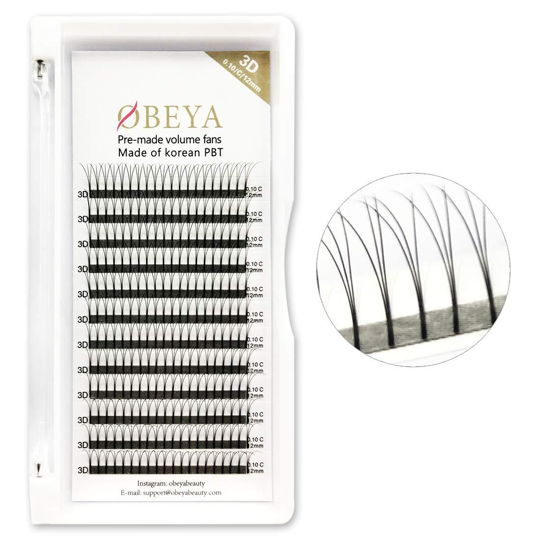 Premade Fans 3D Lash Extensions .10 C Curl Long Stem Volume Lashes 12mm Russian Volume Eyelash Extensions (12mm)