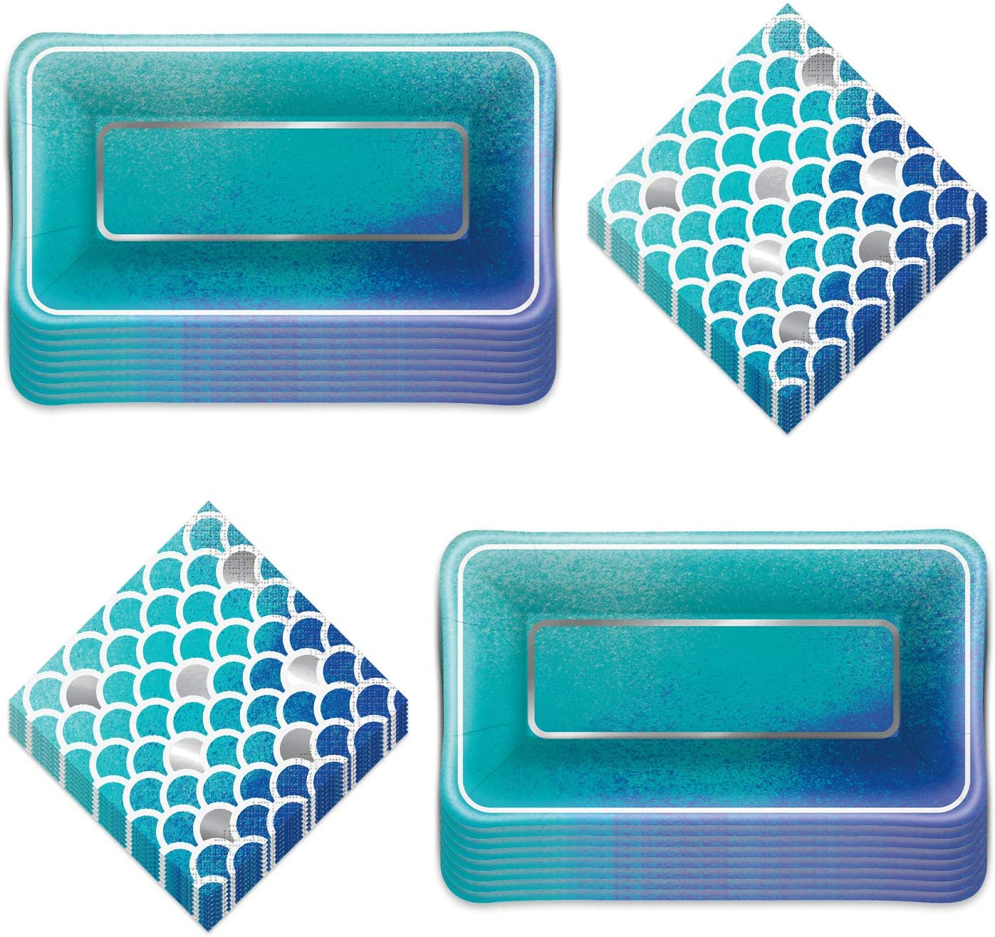 Mermaid and Fish Scale Ocean Blues Metallic Paper Appetizer Dessert Plates and Beverage Napkins (Serves 16)