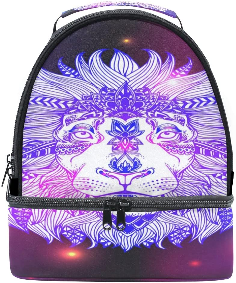 ALAZA Abstract Wild Animal Lion Head Portable Shoulder Double Lunch Box Bag Insulated Lunch Tote Outdoor Bag