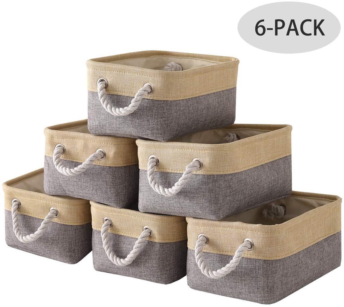 Small Baskets Storage Baskets[6 Pack]Fabric Storage Basket for Shelves, Rectangular Baskets Fabric Baskets for Storage Toys with Handles for Organizing Shelf Nursery Home Office (11.8L×7.9W×5.2H inch)