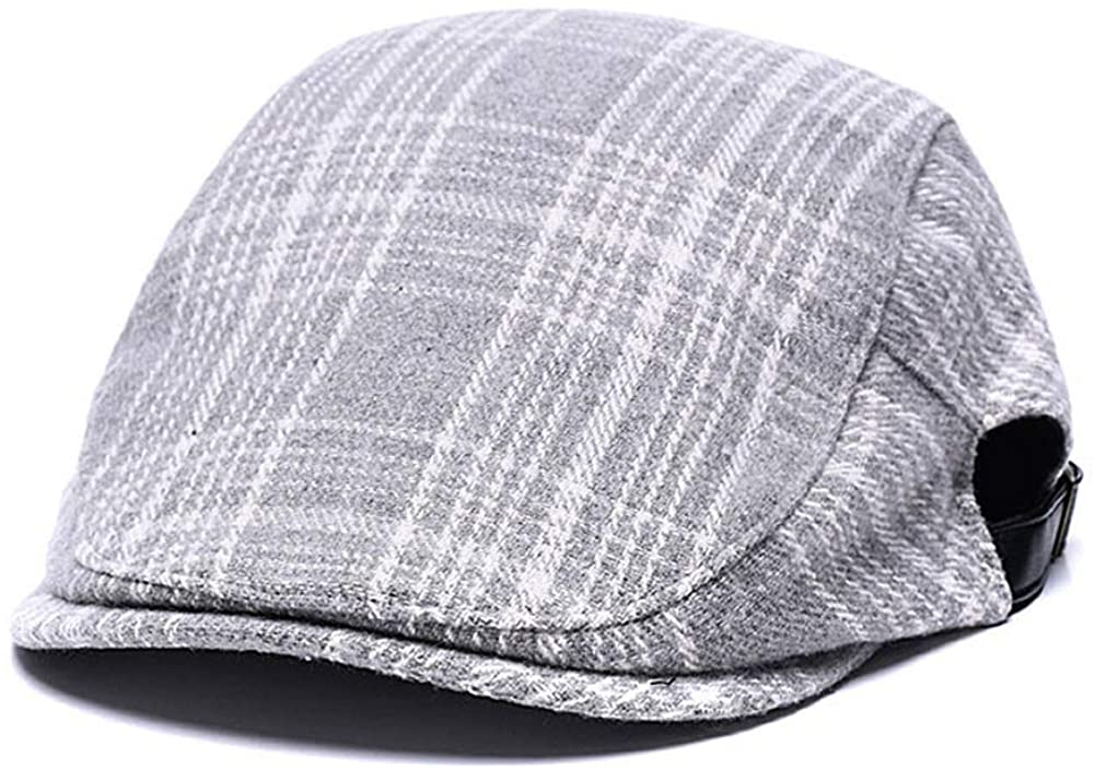 Quanhaigou Men's Cotton Flat Snap Hat Ivy Gatsby Newsboy Hunting Cabbie Driving Cap