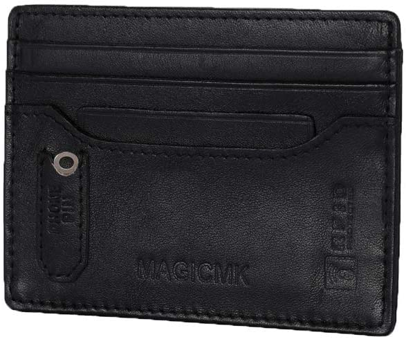 MAGICMK Slim Minimalist Front Pocket Card Organizer RFID Blocking Genuine Leather Credit Card Holder for Men (Black+ID Slot)