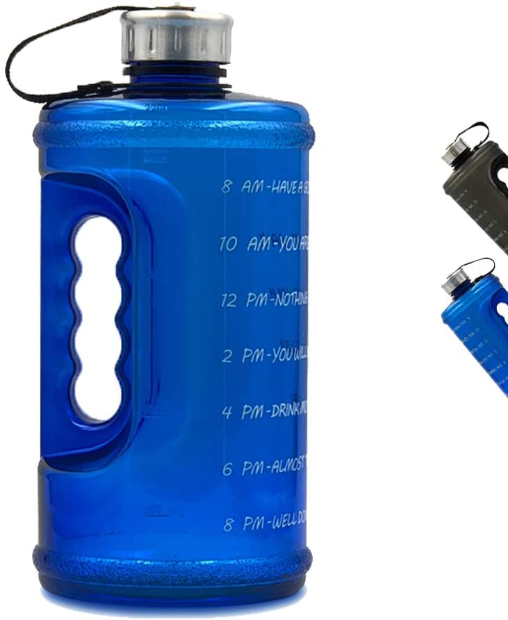 Half gallon Motivational Water Bottle with Time Marker, BPA Free Sports Water Jug with Times to Drink - 64 oz, blue