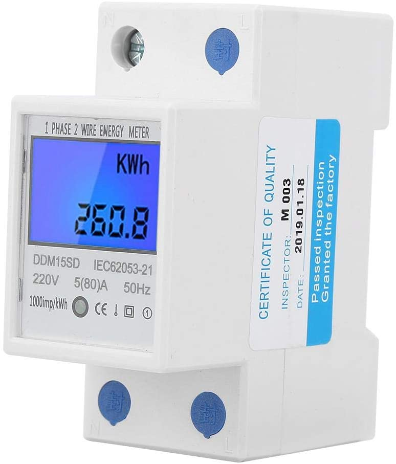 Yosoo Health Gear Electric Meters Kwh Meters, 220V/230V 50/60Hz Single Phase Energy Meter with LCD Backlight Digital Display for Measure Electric Energy(No Reset Button)