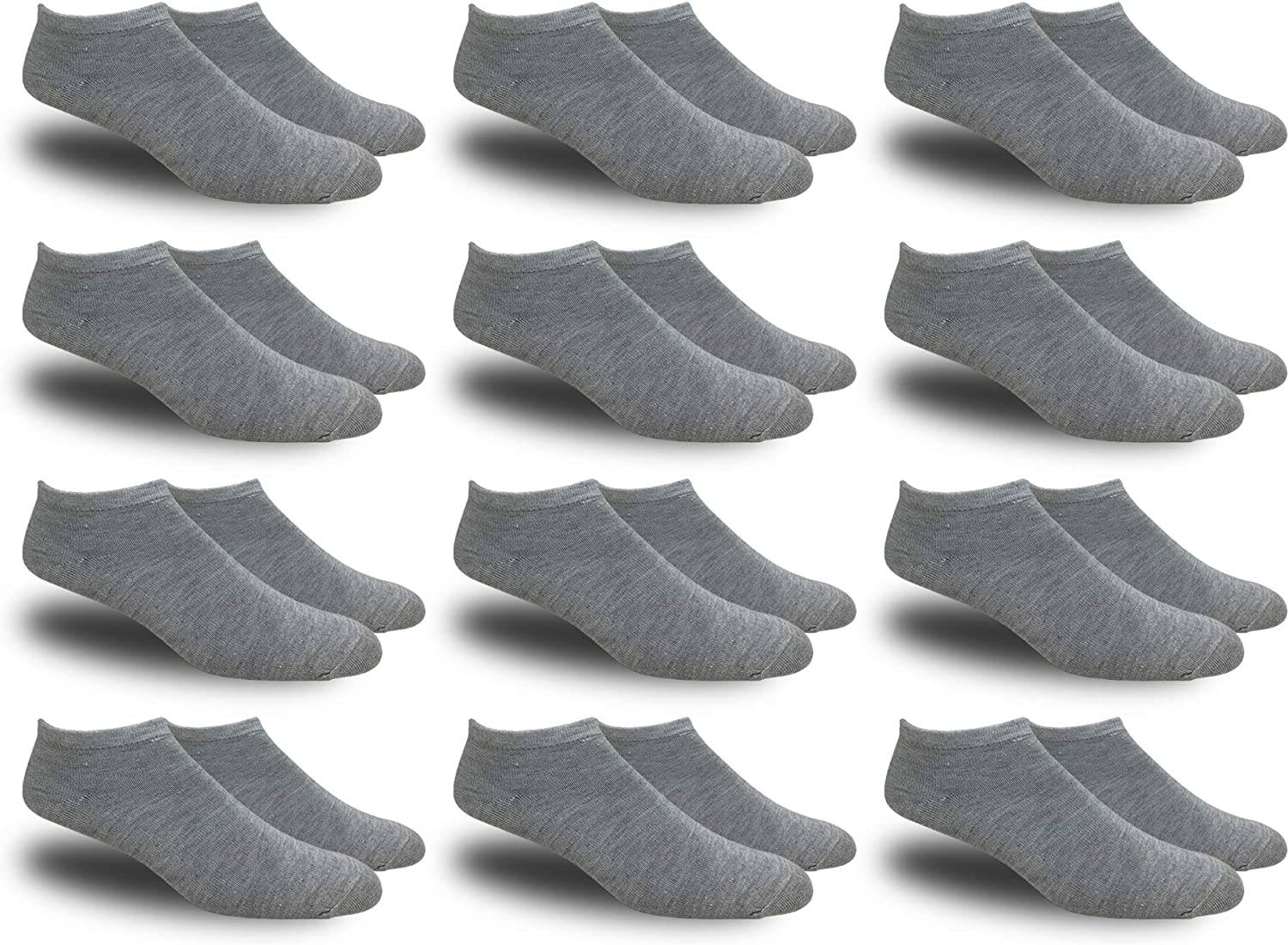 Women's White Thin and Lightweight Low-cut Ankle Socks - 12 Pairs